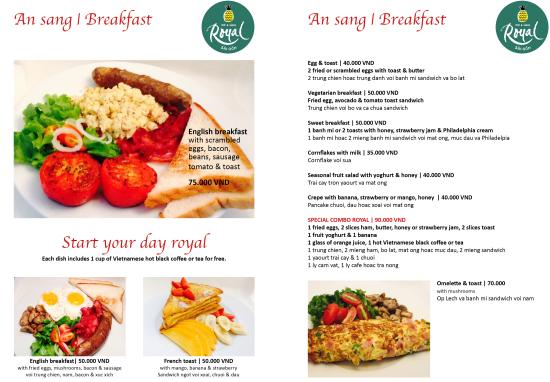 Royal Saigon: New Breakfast Menu. Start your day royal!