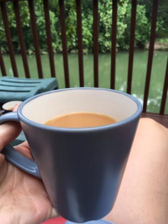 Lamb's Rest Inn: enjoying coffee from the deck