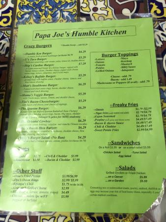 Papa Joe's Humble Kitchen: Menu (not including the pre-prepared foodstuff for take home)