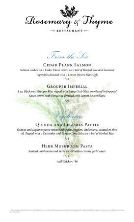 Rosemary & Thyme Restaurant: Dinner Menu Page 3