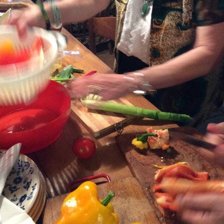 Anne's Italy : cutting up peppers for our antipasto dish..divine!!!