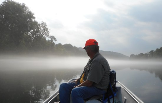 Early morning on the White River just after leaving Cotter Trout Dock, near Flippin, Arkansas
