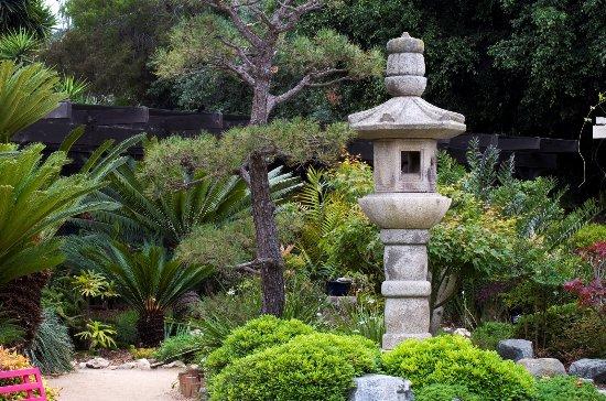 In the Japanese Garden the stone lanterns were crafted of Okazaki ...