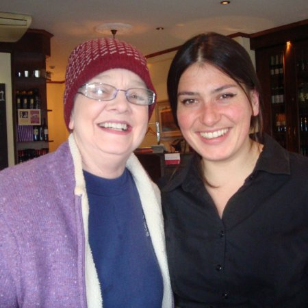 Bar Italia: Pretty Italian waitress posed with Gretchen on our visit.