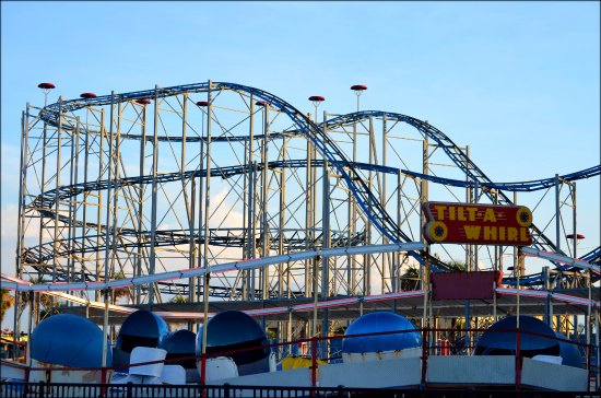 Daytona Beach Boardwalk And Pier Joyland Roller Coaster At