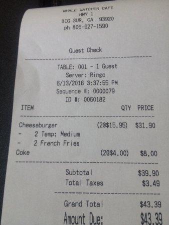 Whale Watchers Cafe: Too expensive check