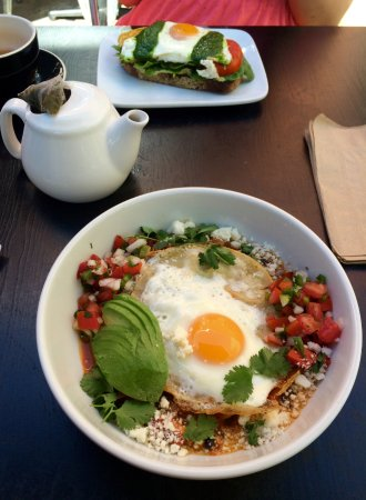 Yucatan Bowl (in the front), Fried Egg Tartine (in the back ...