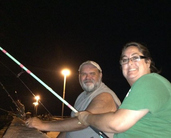 Kure Beach Pier: Happy couple