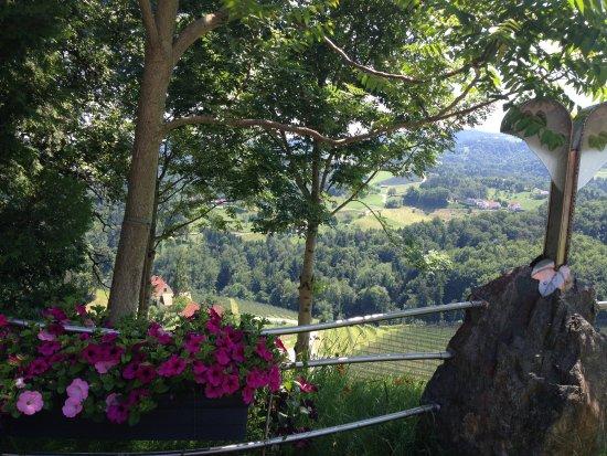 Leutschach, Austria: Ambiente im Gastgarten