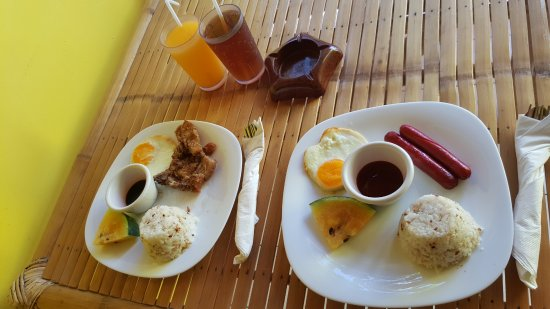 the Club Ten Beach Resort Boracay: the table at the lanai where we ate a breakfast of porksilog and hotsilog