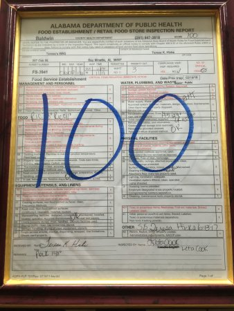 Bay Minette, AL: Perfect 100 Score on Health Inspection