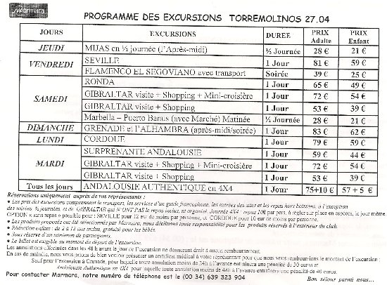 Hotel Pueblo Camino Real : excursions  tarifs