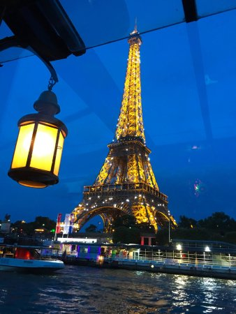 the eiffel tower with lights twinkling from the bateau le calife