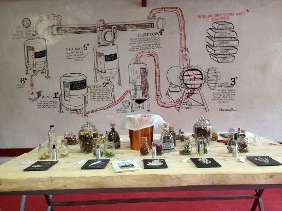 Cromdale, UK: Botanics used in the production of Caorunn Gin, with a picture of the process on the wall.