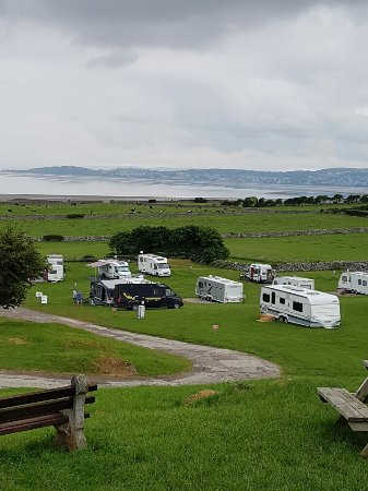 Silverdale, UK: View of the site and Morecambe Bay