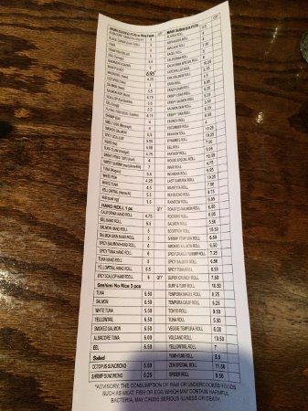 Sushi Zen: If you can make it out, this is the sushi order form.