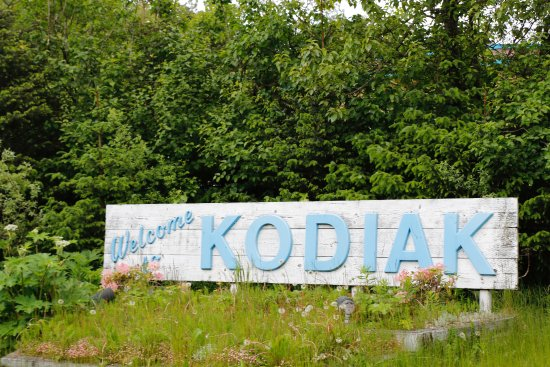 Comfort Inn Kodiak: Welcome to Kodiak sign right beside the hotel