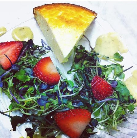 Liverpool, NY: Goat Cheese Cheesecake w/ Alfalfa Sprouts & Strawberry Garnish (GF, Low-lactose) (June 2016)