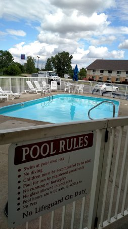 Motel 6 Sandusky-Milan: Pool with Days Inn next door.