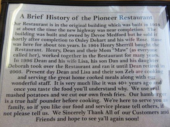 Clyde, Carolina do Norte: History of the restaurant