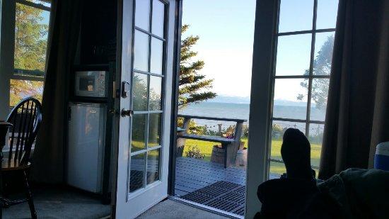 The Alaska Beach House: Kachemak Bay and Homer Spit from Kachemak room.
