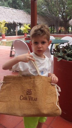Melia Puerto Vallarta All Inclusive: My grandson helping out carrying my infamous Casa Velas bag