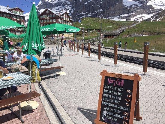 Kleine Scheidegg, Szwajcaria: A view of the Eiger from the restaurant
