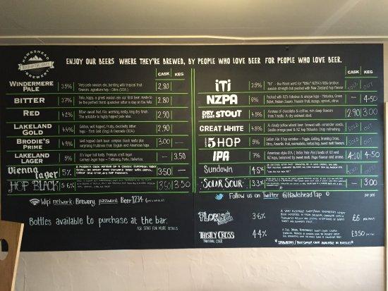 Staveley, UK: Beer Menu