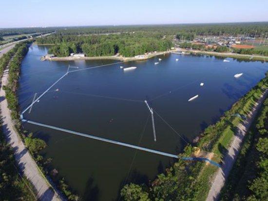 Little River, Carolina Selatan: Aerial of Shark Wake Park 843