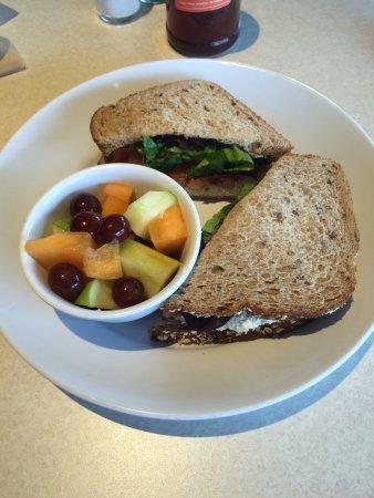 Zoes Kitchen Chicken Salad Sandwich chicken salad sandwich w side of fresh fruit - picture of zoes