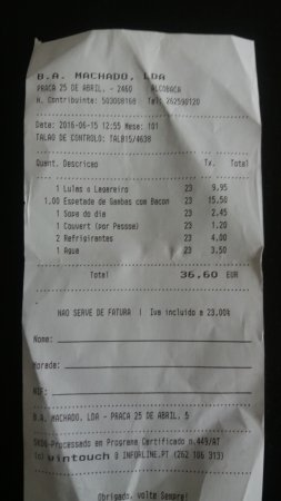 A Casa: Restaurant bill, last two items, the coke's and the water.