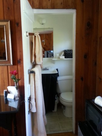 Bay Leaf Cottages & Bistro: Teeny tiny bathroom, shower is just left when you go in