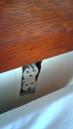 River Park Hotel & Suites Downtown/Convention Center: Electrical Outlet behind the bed
