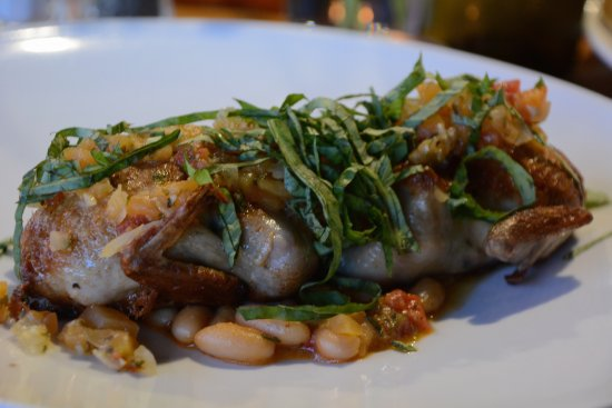 Element: Quail with a cantaloupe relish and beans. DELICIOUS. Seasoned delicately.