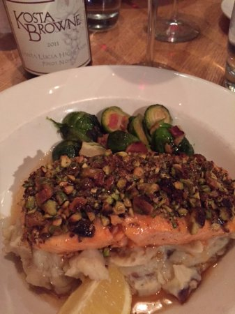 Pistachio salmon with garlic mashed potatoes and sprouts with bacon