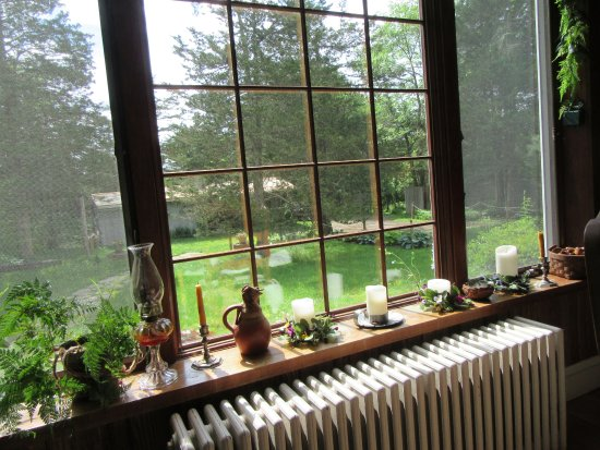 Thyme in the Country: Looking out dining room to milk sales office.