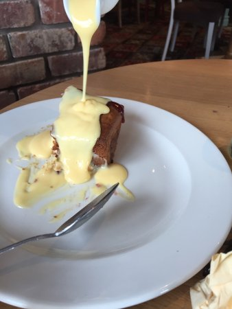 Jam dolly pudding with custard, just like home made pud