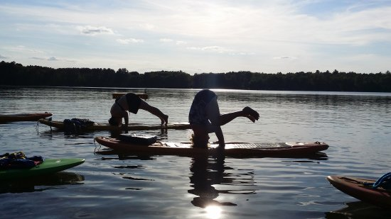 Saint Germain, WI: Headstanding on the Paddle boards