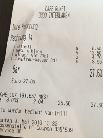 Cafe Runft : Lunch Tab for 2