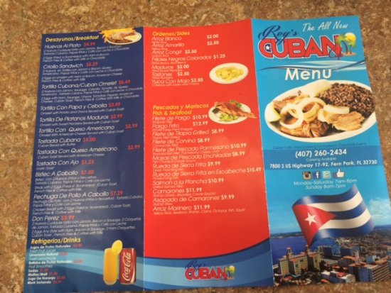 Fern Park, Floryda: Back of menu