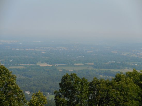 Townsend, TN: North side overlook with Maryville. Knoxville not visible in the distance