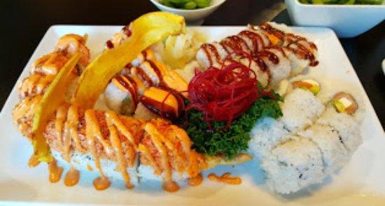 Sycamore, IL: White Dragon, Spicy Shrimp Tempura, Philadelphia, Crunch Munch