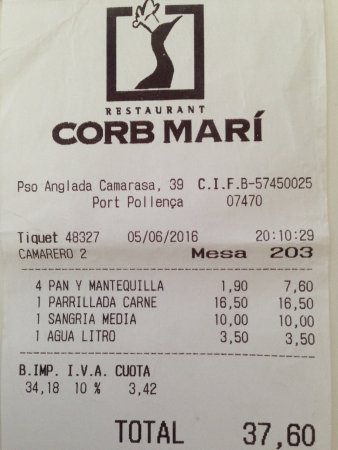 Restaurant Corb Mari: bill