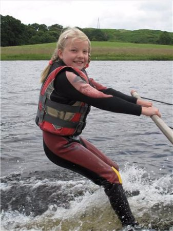 Parton, UK: Learning to water ski on the training boom at Loch Ken Water Ski and Wakeboard School
