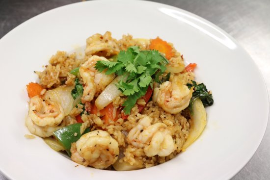 Bolton, UK: King prawn spicy rice