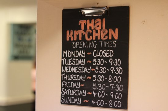 Bolton, UK: Thai Kitchen opening hours