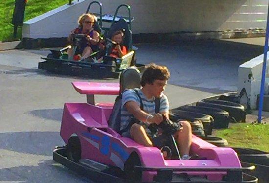 Fast Eddies Fun Center: Racing go carts at Fast Eddies, FUN !!