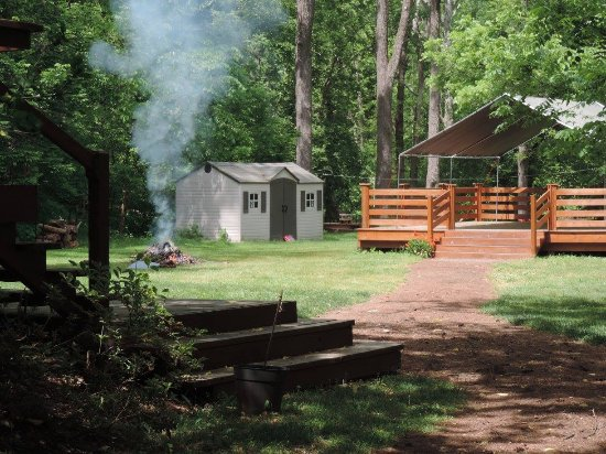 Common Ground Canopy Tours: This is our welcome center and the deck we get your gear ready on.