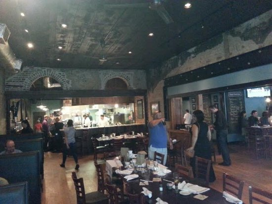 Goin' Coastal Sustainable Seafood Joint: Inside restaurant area taken from high top table at front.