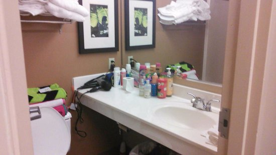 Extended Stay America - St. Louis - St. Peters: Our bathroom as we lived in it